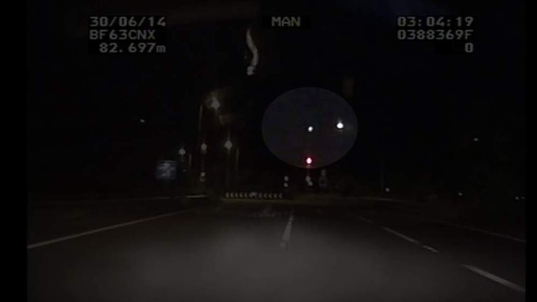 A West Midlands Police car's dash-cam films a meteor