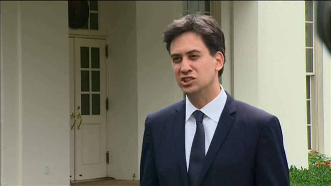 Labour leader Ed Miliband after meeting with US President Barack Obama.