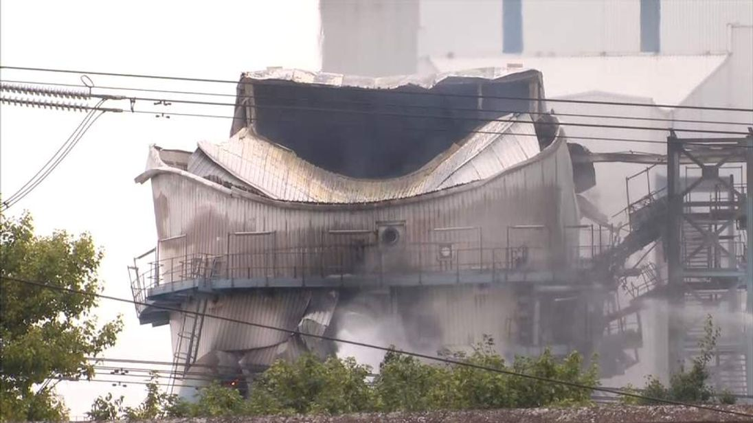Firefighters tackle a blaze at Ferrybridge Power Station in West Yorks