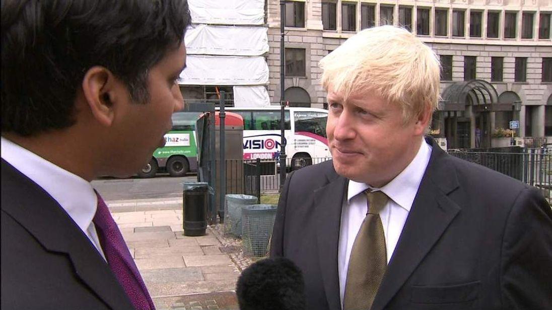 London Mayor Boris Johnson being interviewed by Sky's Faisal Islam