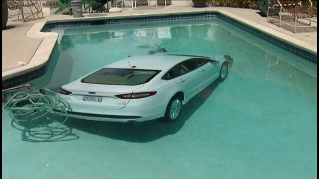 The car in the pool