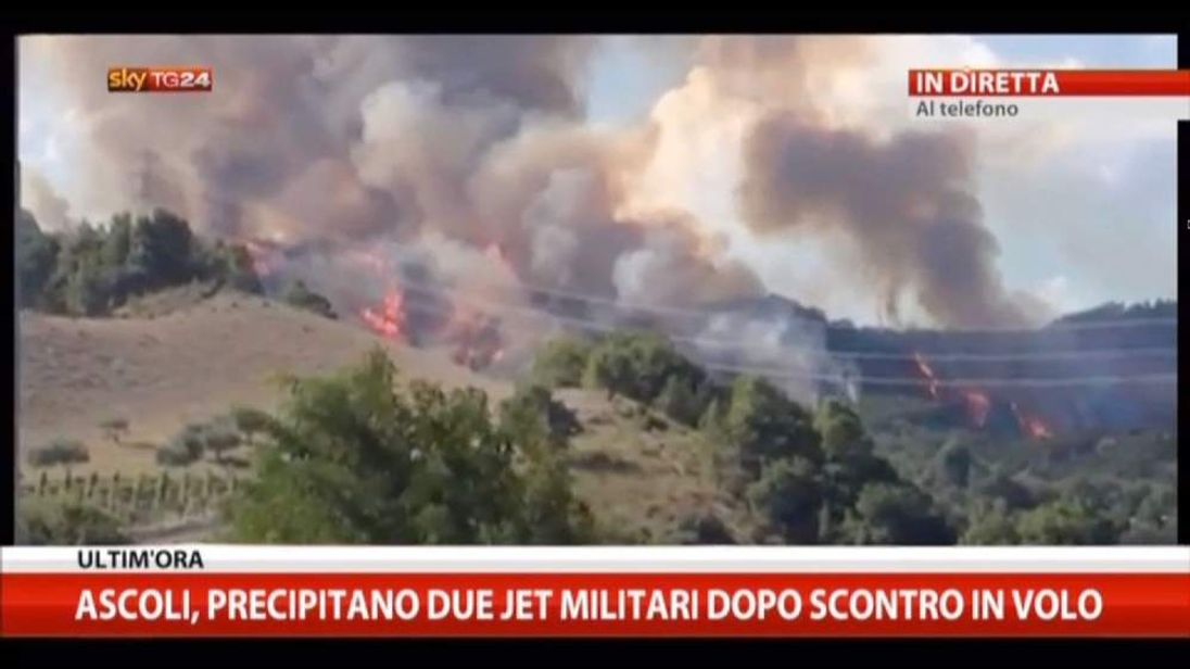 The aftermath of a mid-air collision involving two Italian fighter jets. Pic: Sky Italia