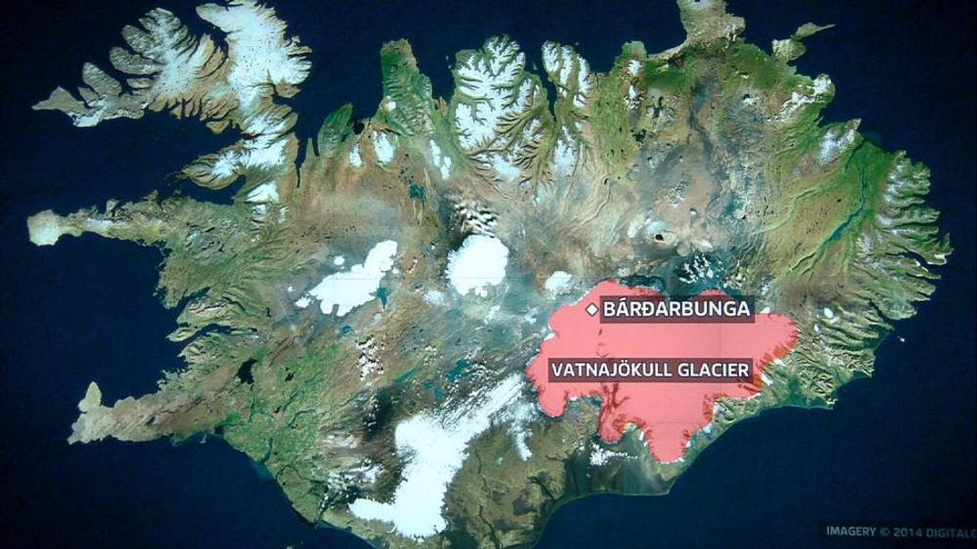A map showing the location of the Bardarbunga volcano in Iceland