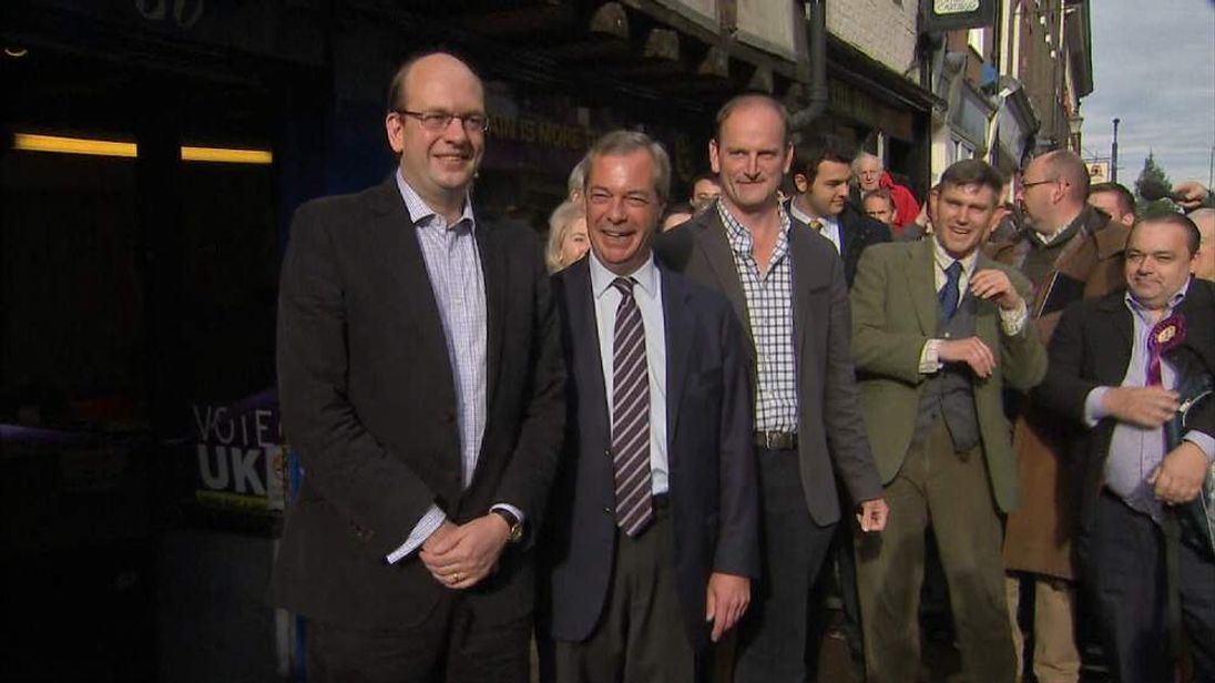 Mark Reckless, Nigel Farage and Douglas Carswell in Mr Reckless' constituency.