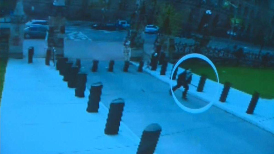 CCTV of Michael Zehaf-Bibeau outside Ottawa parliament