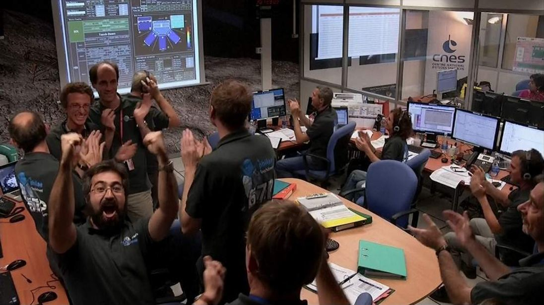 Celebrations after the Philae lander touched down on the 67P/Churyumov-Gerasimenko comet