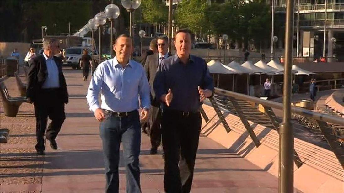 David Cameron and Tony Abbott take a morning stroll