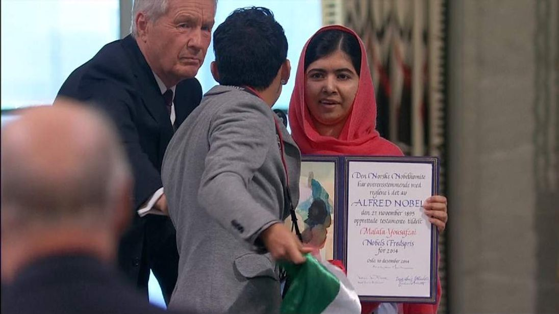 Protester attempts to disrupt the Nobel Peace Prize ceremony