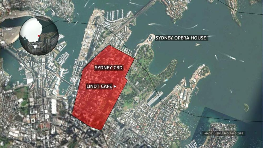 Map showing Sydney's Central Business District and the Opera House in relation to the Lindt Cafe siege