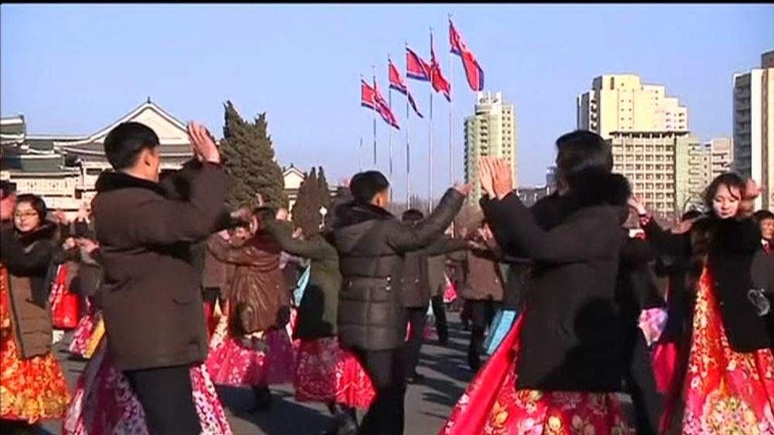 North Korean dance to celebrate three years of Kim Jong-Un's rule