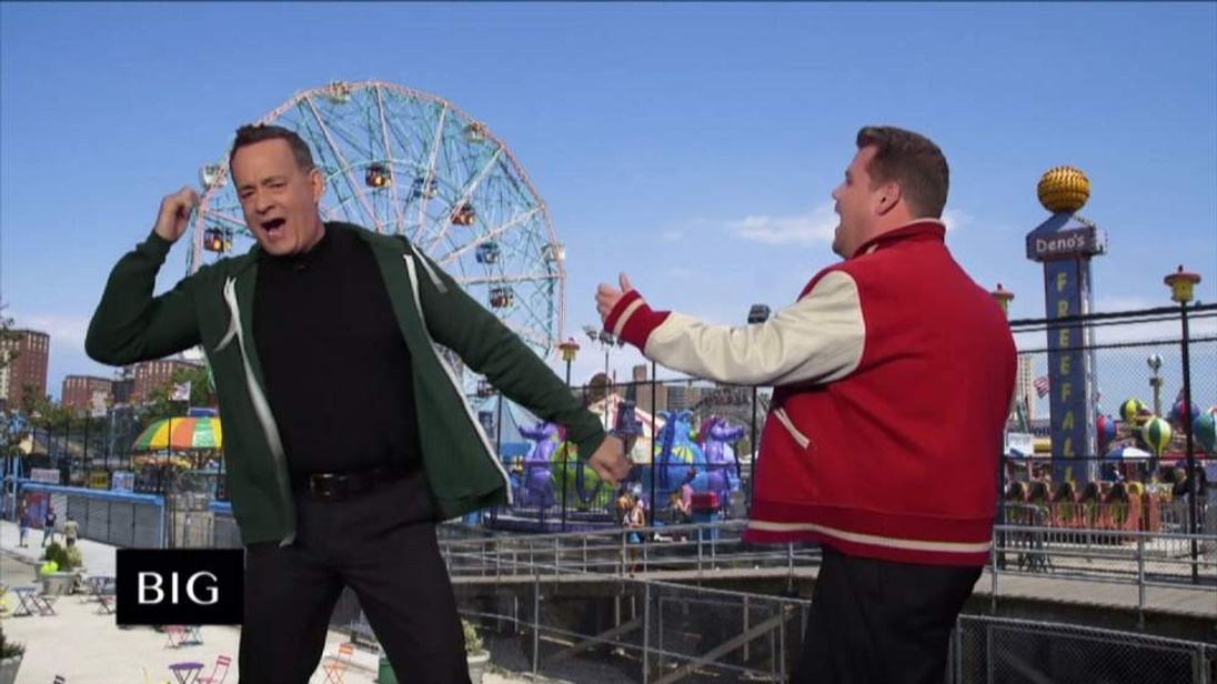 Tom Hanks and James Corden
