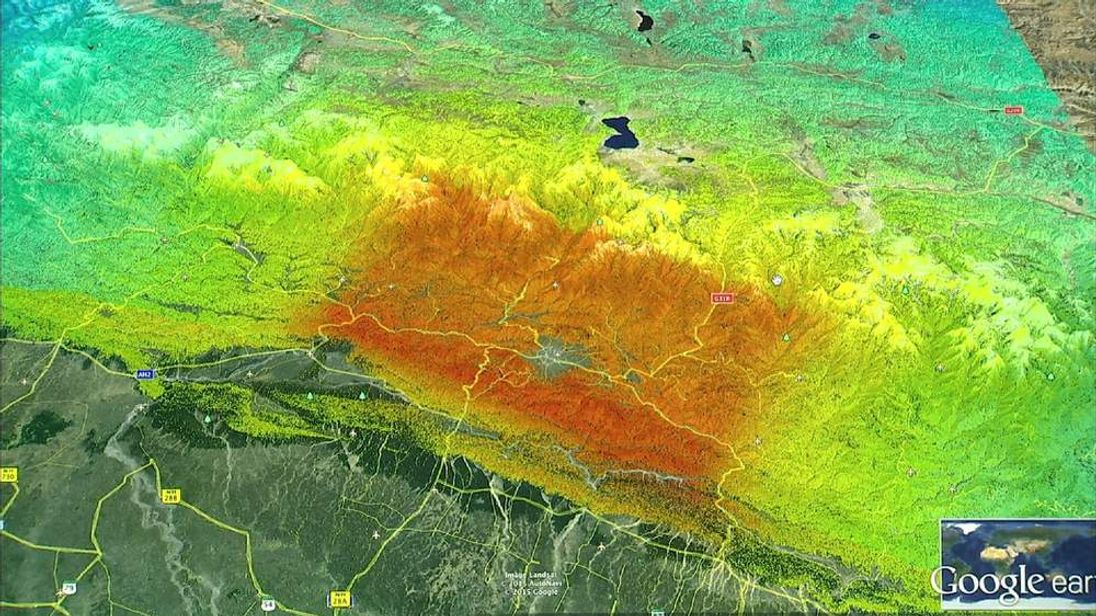 """A map with """"hot red colours"""" most likely to be hit by landslides"""
