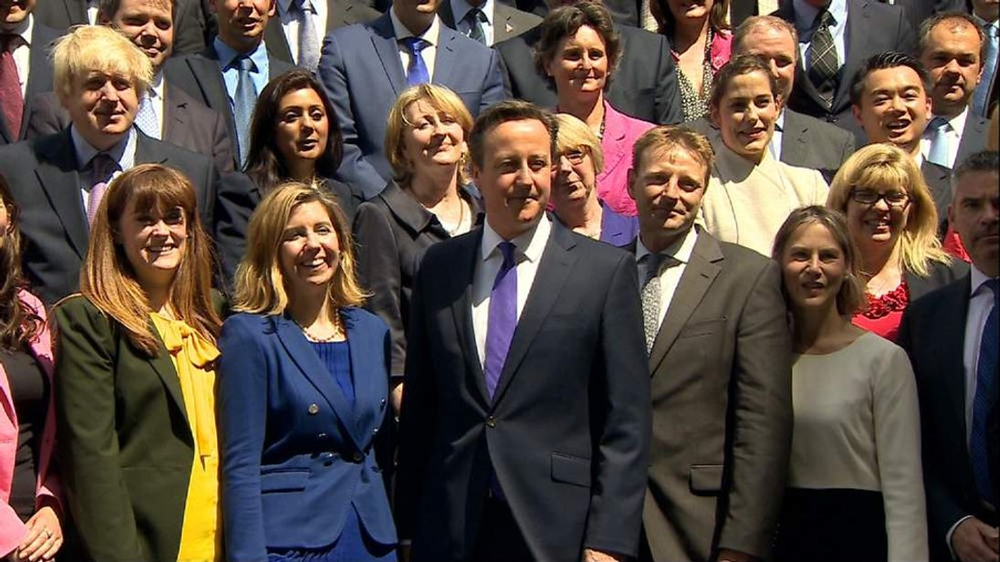 David Cameron poses with some members of his new Cabinet