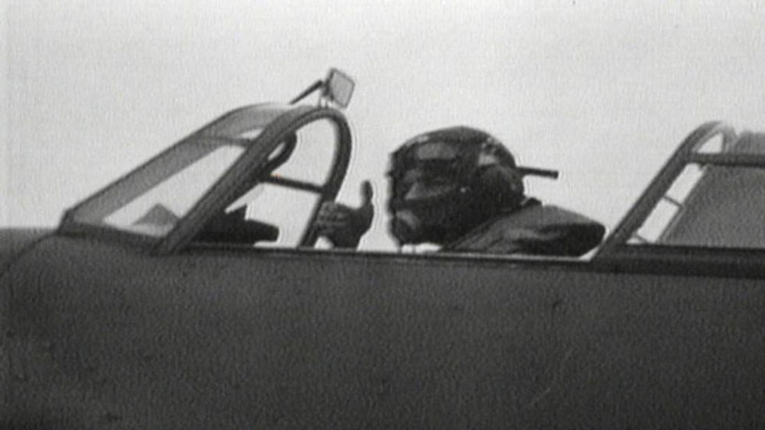 Archive footage of Second World War fighter pilot