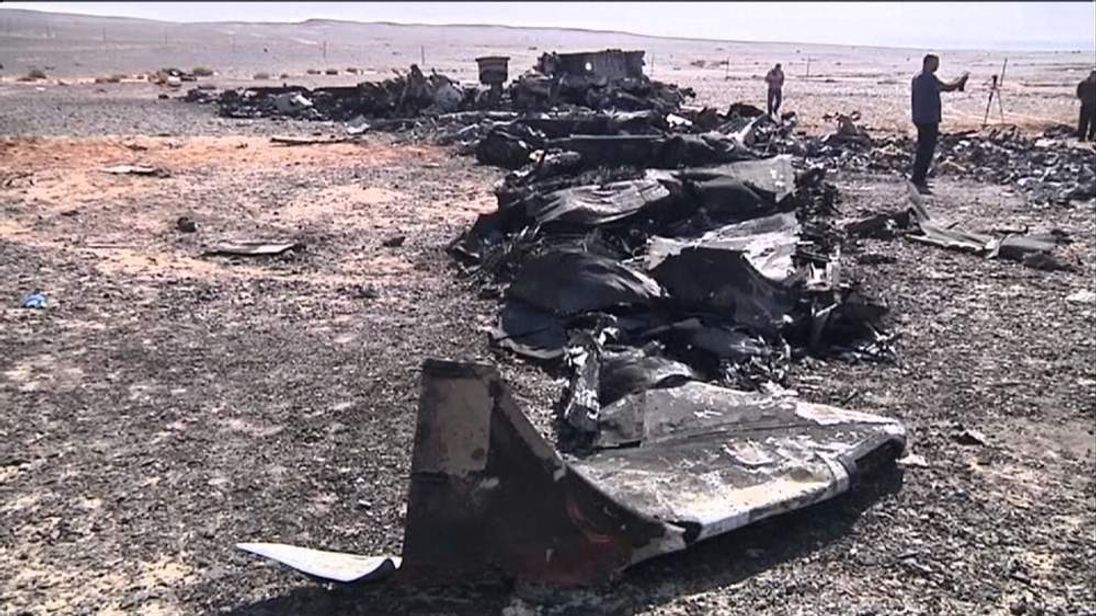 Wreckage of the plane in the Sinai region of Egypt