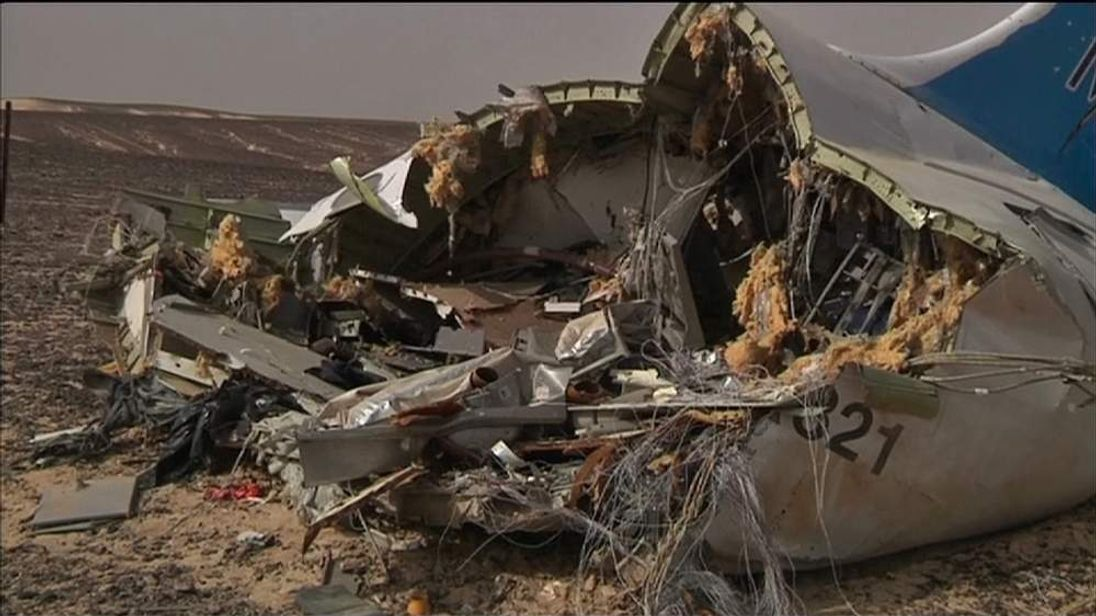 Part of the wreckage of the Metrojet plane that crashed in Egypt.