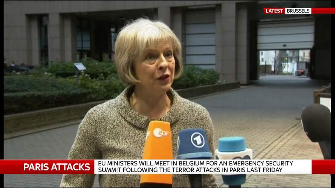 Home Secretary Theresa May talking to media in Brussels