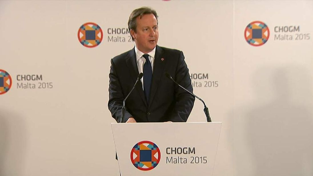David Cameron Speaks To Journalists At Conference In Malta