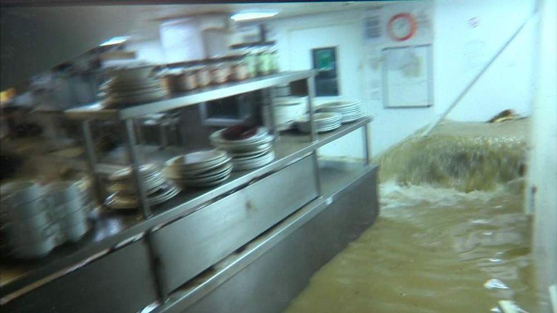 Flood water in kitchen