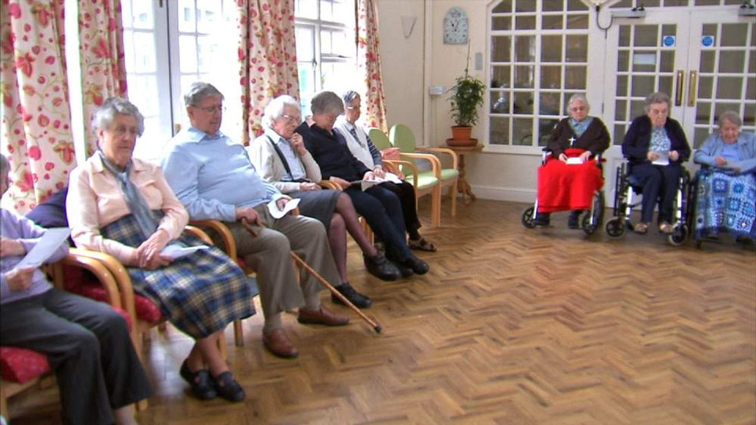 Care Home residents listen to music