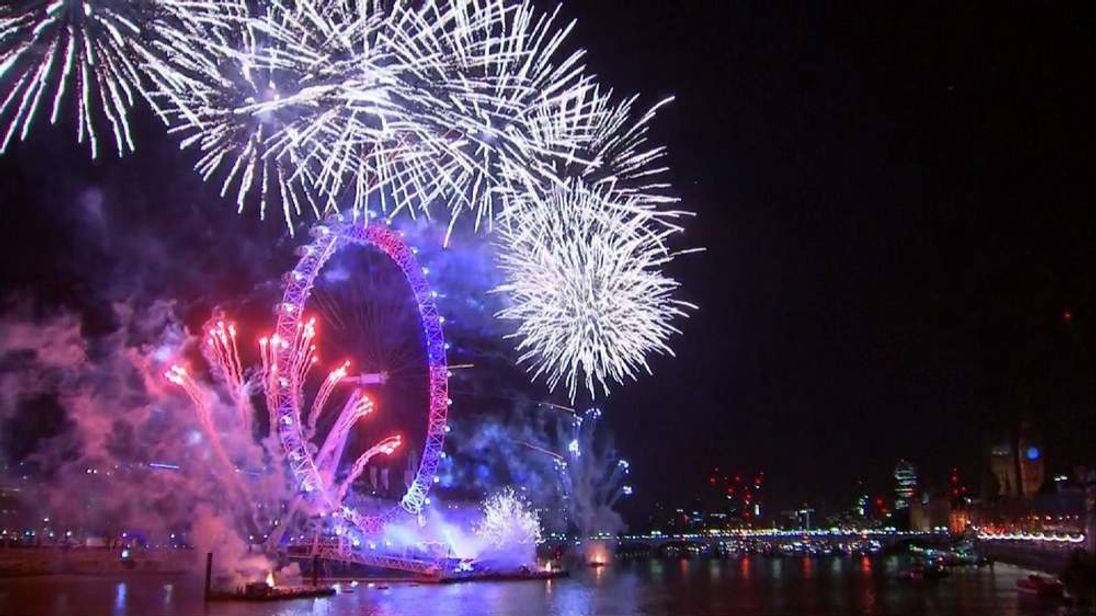 Fireworks Over The Thames For New Year