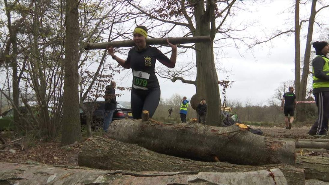An athlete participates in an extreme sport event in Kent