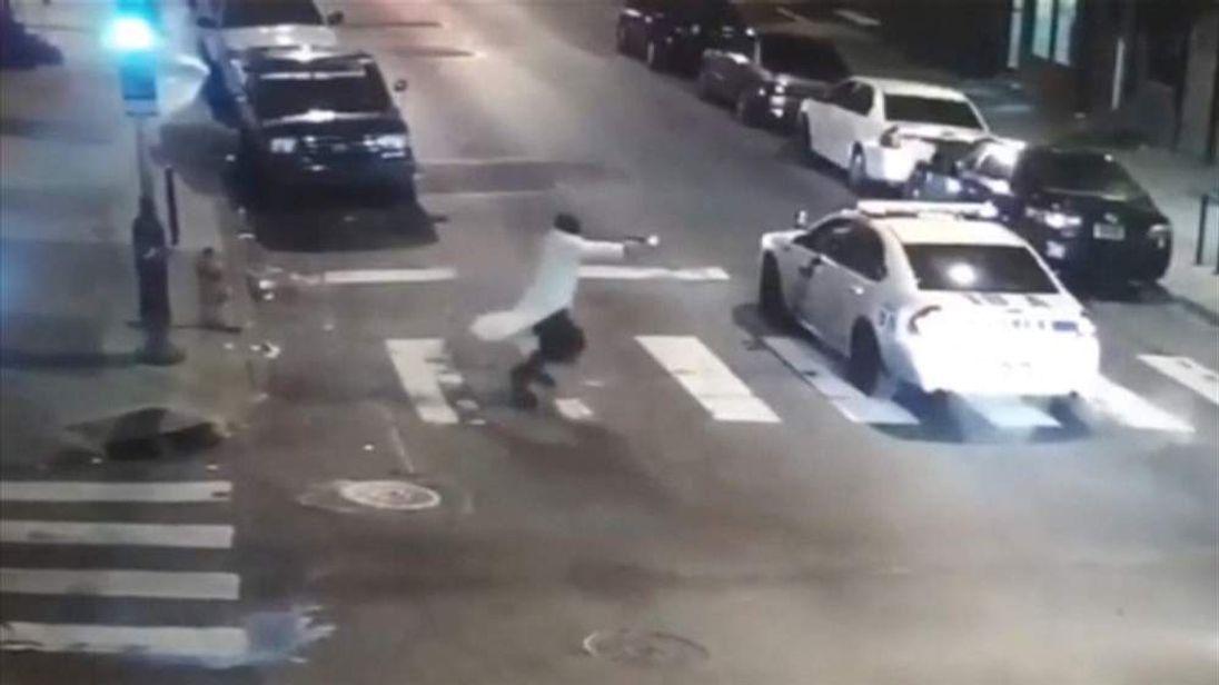 CCTV of gunman firing at Philadelphia police officer Jesse Hartnett