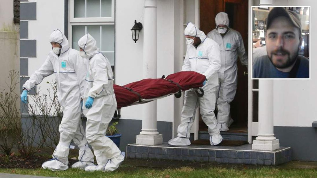 Members of the Gardai remove the body of Tom O'Gorman from his home + insert of alleged killer Saverio Bellante
