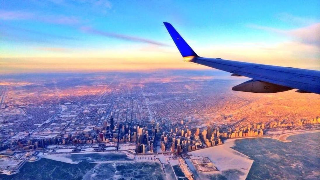 The view from a plane leaving chicago