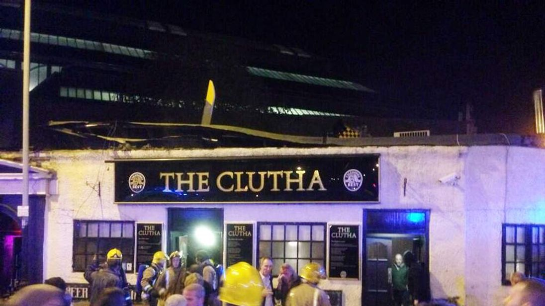 The aftermath of a helicopter crash at The Clutha, a pub in Glasgow, Scotland