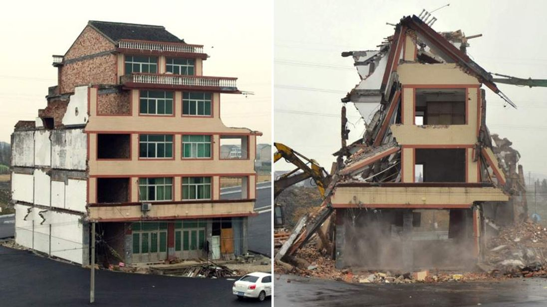Lone China home demolished