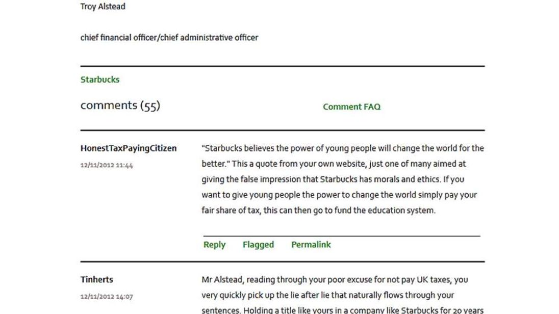 Comments on the Starbucks UK website addressed to CFO Troy Alstead