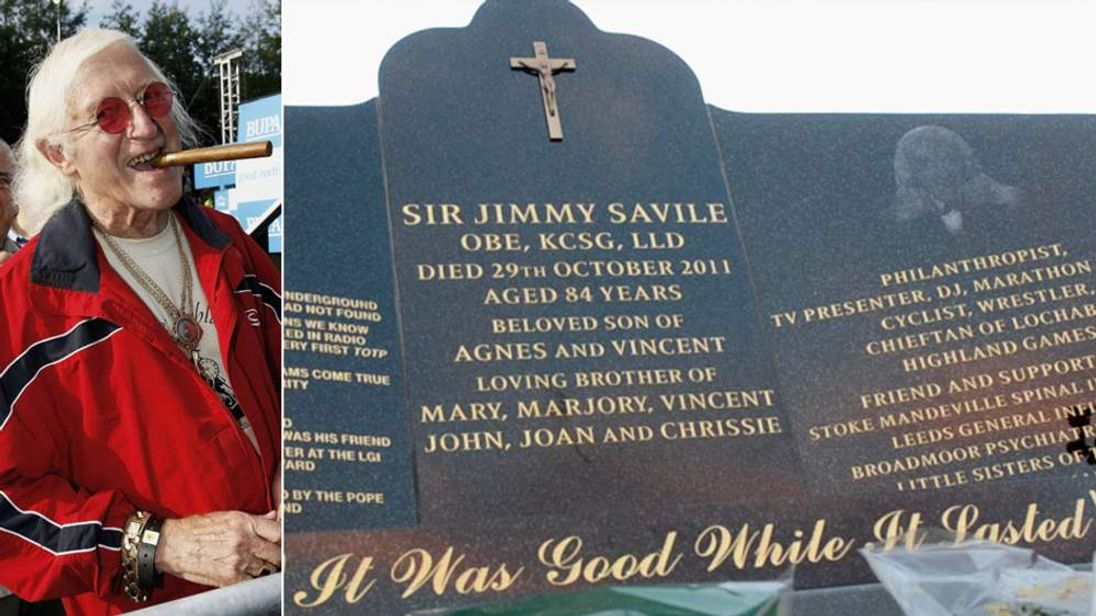 Sir Jimmy Saville and his headstone