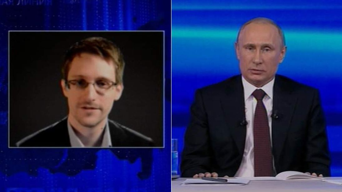 Edward Snowden and Vladimir Putin