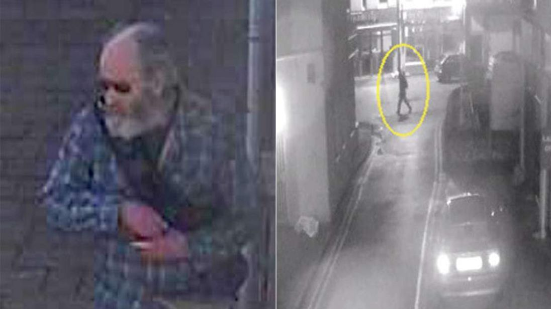 Previously released CCTV image of Alan Jeal (L) and him in Perranporth, Cornwall