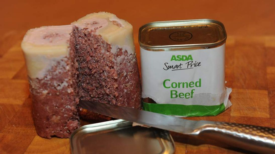 General view of a tin of ASDA Smart Price Corned Beef