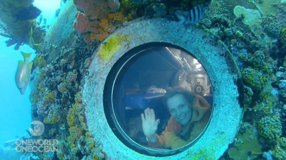 One of team members under water
