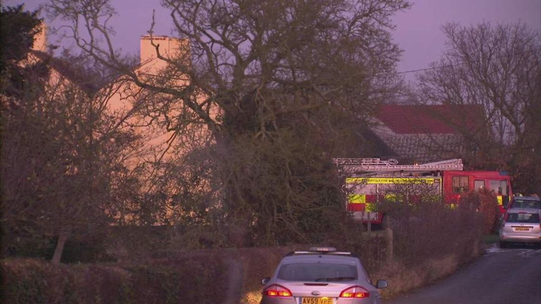 Emergency services at scene of plane crash in Aldham, Suffolk