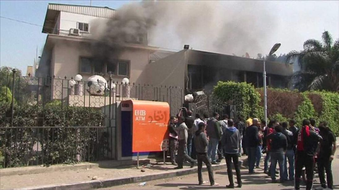 Egypt's Football Assocation HQ ablaze in Cairo.