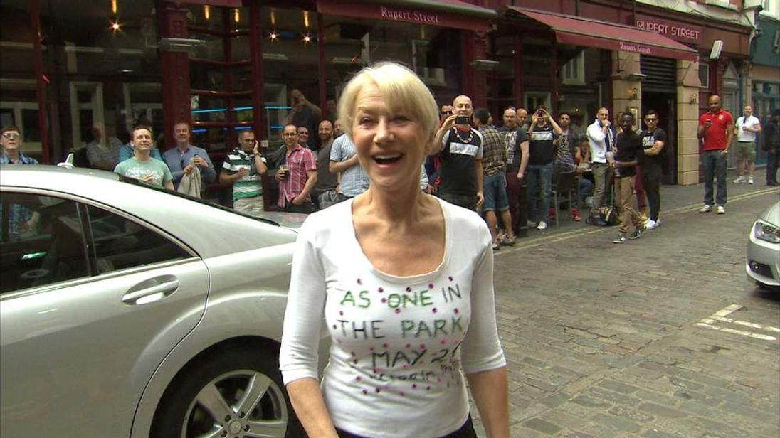 Dame Helen Mirren outside London's Gielgud theatre