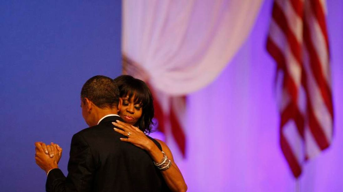 President Barack Obama and first lady Michelle Obama dance at the Commander in Chief's Ball in Washington