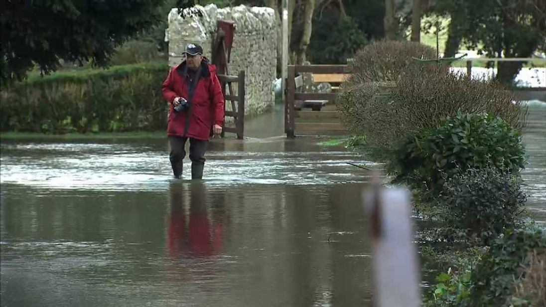 Flooded roads in Charminster, Dorset