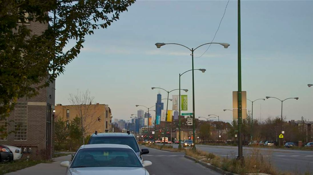 Chicago skyscrapers seen from the troubled west side (Pic: Gary Mitchell)