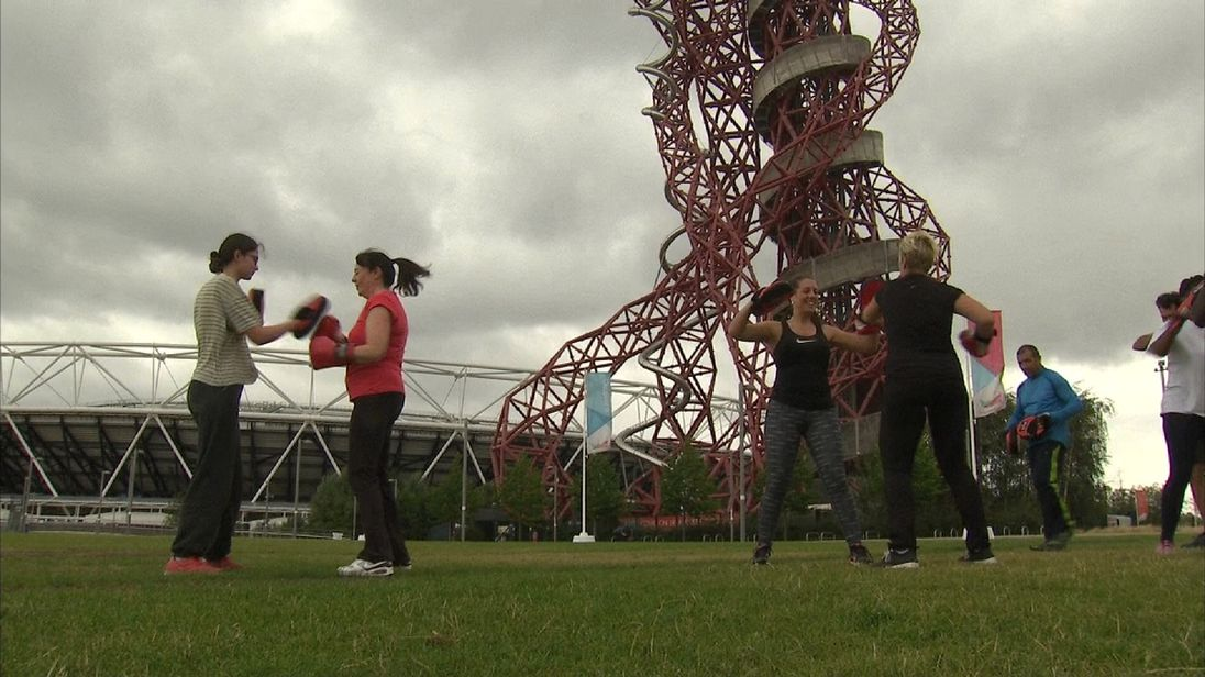 An exercise class at the Olympic Park