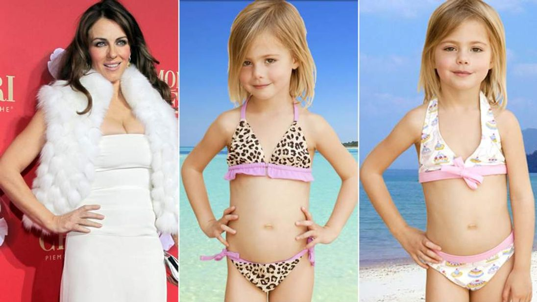 Elizabeth Hurley and children in bikinis