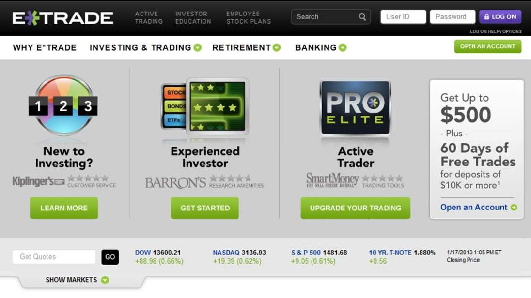 E*Trade website screenshot