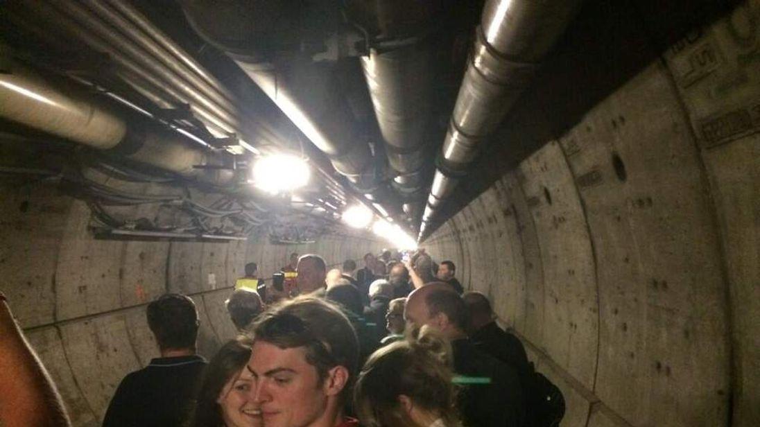 Evacuated passengers in Eurotunnel. Pic: Richard Byrom
