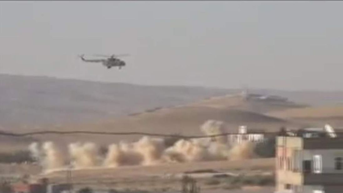 Fighter helicopter attacks in Syria