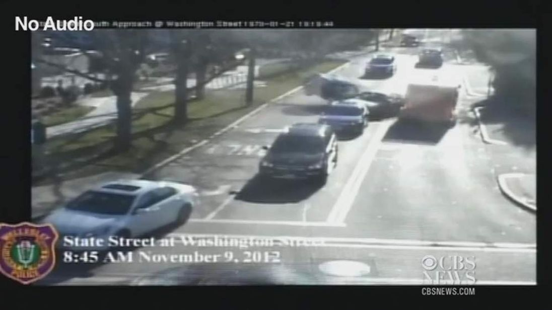 A CCTV still of the crash