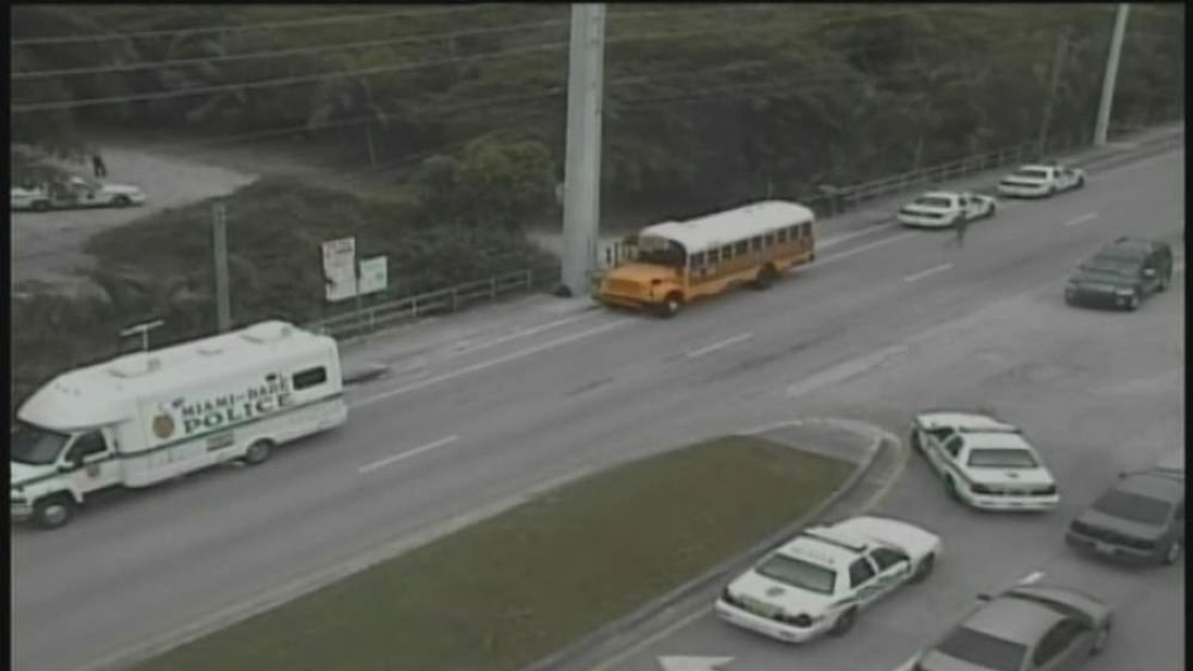 Scene of a school bus shooting in Miami Florida